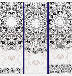 Set of vertical banners with ethnic floral mandala vector