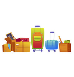 set old things luggage suitcase and boxes vector image