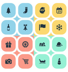 set simple new year icons vector image