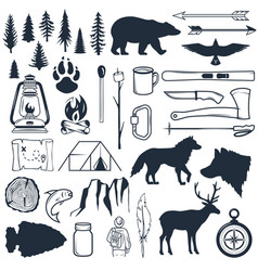 Set wilderness silhouettes hand drawn camping vector