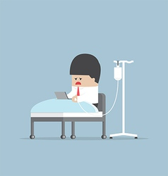 Sick businessman working hard in hospital bed vector image