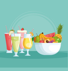 Smoothies with fruit bowl vector