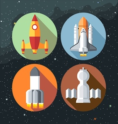 Spaceships icons collection with shuttles and rock vector