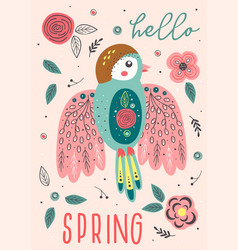 Spring card with beautiful bird vector