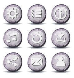 stone and rock icons for ui game vector image