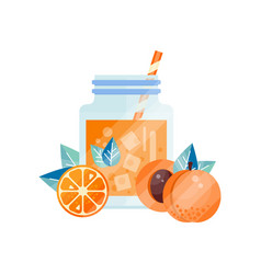 Tasty summer smoothie with orange and apricot vector