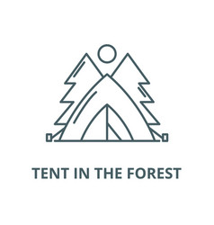 tent in forest line icon linear vector image