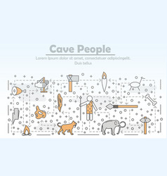 thin line art cave people poster banner vector image