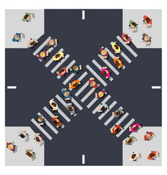 Top view from above intersection street vector