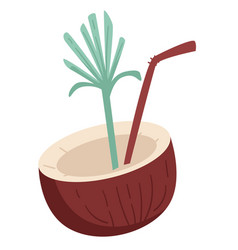 tropical coconut cocktail isolated icon summer vector image