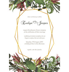 Wedding watercolor seasonal flower cardplants vector