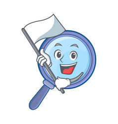 with flag magnifying glass character cartoon vector image