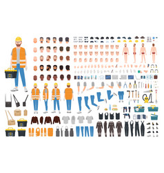Worker or repairer diy kit collection male vector
