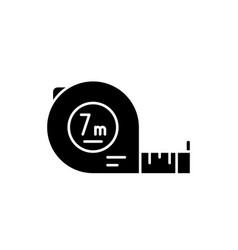 yardstick black icon sign on isolated vector image