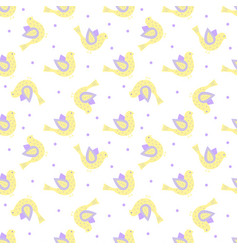 Yellow and violet ornate birds with dots in the vector
