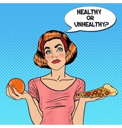Young Fit Pop Art Woman Choosing Orange or Pizza vector image