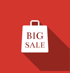 big sale bag icon isolated with long shadow vector image vector image