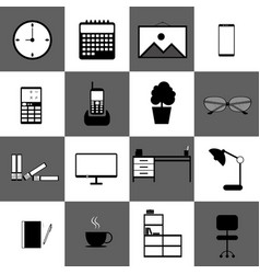 home office workspace technology web icon set vector image