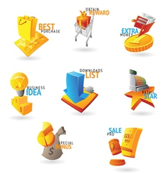 Icons for commerce and retail vector image vector image