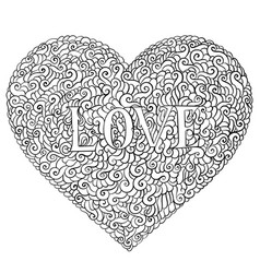 love valentines day composition in doodle style vector image