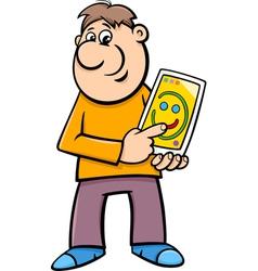 man drawing on tablet cartoon vector image vector image