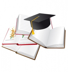 set of books and hats vector image vector image