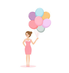 young woman girl holding balloon concept of vector image