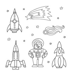 card with space objects rockets stars comet and vector image