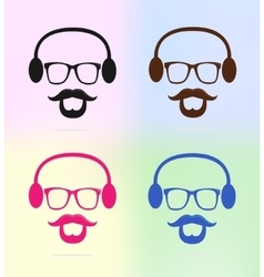 colorful man icons with beard and heardphone vector image vector image
