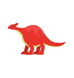 cute cartoon red dinosaur prehistoric and vector image vector image
