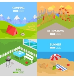 Holiday barbecue hiking and amusement park vector