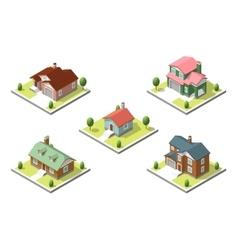 isometric buildings set Flat style vector image