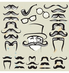 set of mustaches vector image vector image