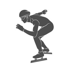 silhouette speed skaters vector image