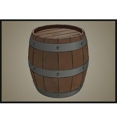 Wooden barrel with iron rings vector image