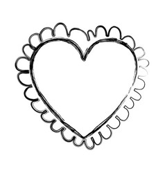 blurred silhouette heart with decorative border vector image