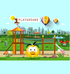 city park with hot air balloons skyline vector image