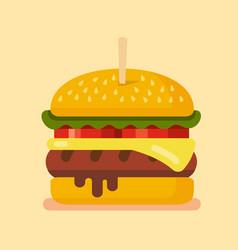 delicious hamburger flat vector image vector image
