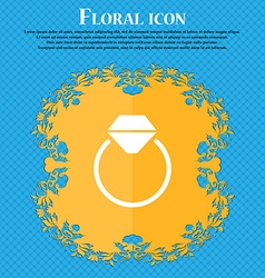 Diamond engagement ring icon sign floral flat vector