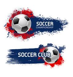 soccer ball banner set football sport game design vector image vector image