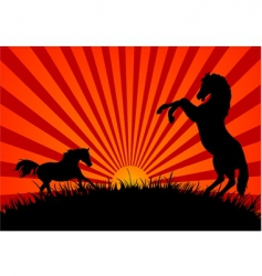 two horses at sunset vector image vector image