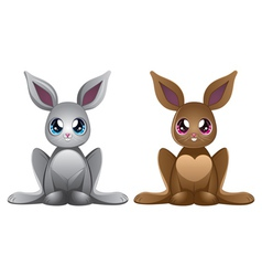 White and brown rabbits vector image vector image