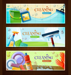 cleaning horizontal banners set vector image vector image