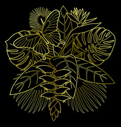 Golden tropical bouquet vector