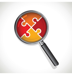 magnifying glass on a red jigsaw vector image vector image