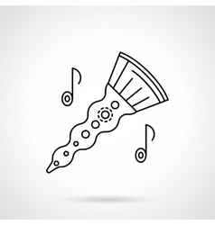 Woodwind horn flat line icon vector image vector image