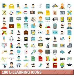 100 e-learning icons set flat style vector