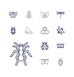 13 insect icons vector