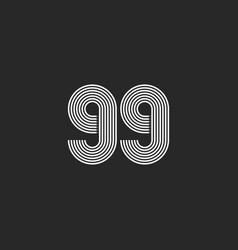 99 number logo black and white think parallel vector image
