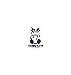 Animal cow or dairy cows cute cartoon happy logo vector